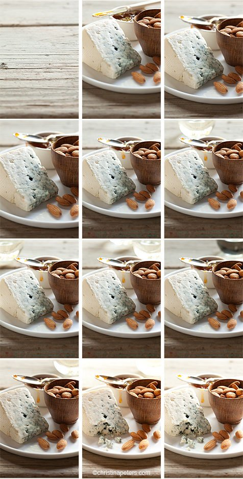 Working through a shot with multiple images of cheese and almonds