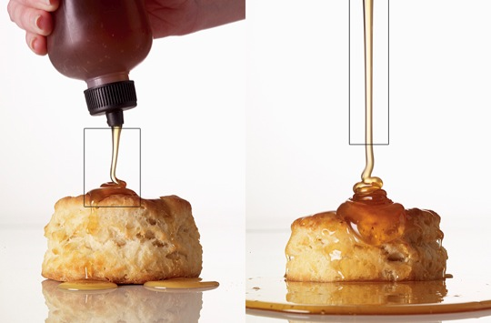 Pouring honey on a biscuit | Food Photography Blog