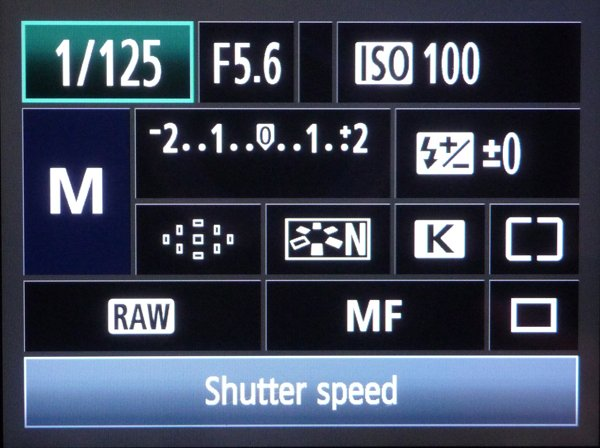 Quick menu highlighting the shutter speed