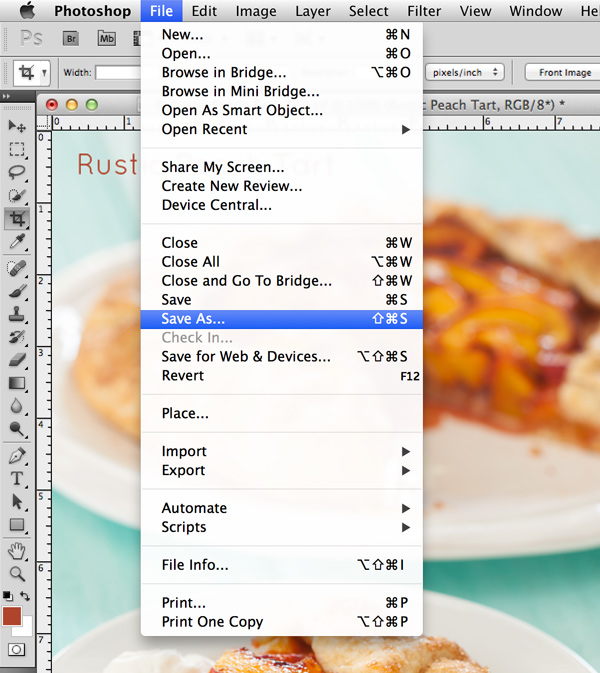 Save As in Photoshop | Food Photography Blog