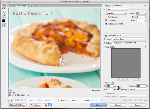 Save for Web and Devices | Food Photography Blog