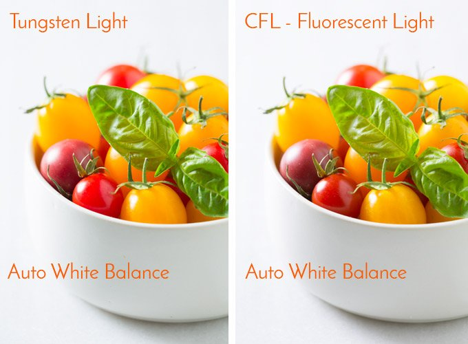 Tungsten Light VS Fluorescent Light | Food Photography Blog