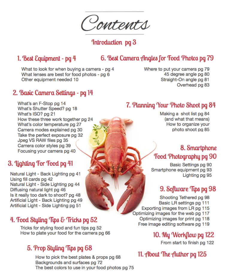 Food Photography Ebook Table of Contents