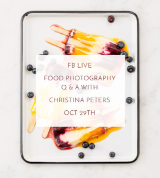 Food Photography Q and A on FB Live Oct 29th 2016