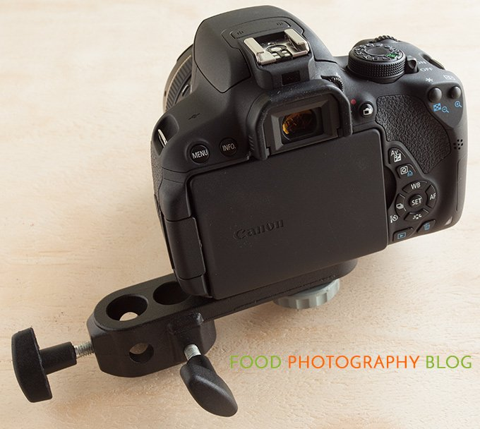 Image showing the Canon rebel T5i mounted onto the Manfrotto camera bracket