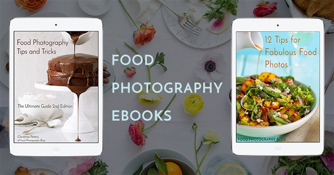 Image showing two ebooks about food photography with the text Food Photography Ebooks - clicking this image will take you to the website page for the ebooks