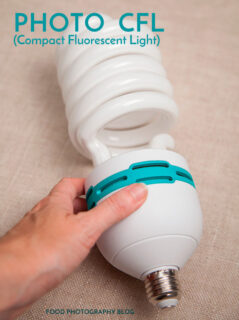 Large CFL light bulb on fabric with hand grabbing it