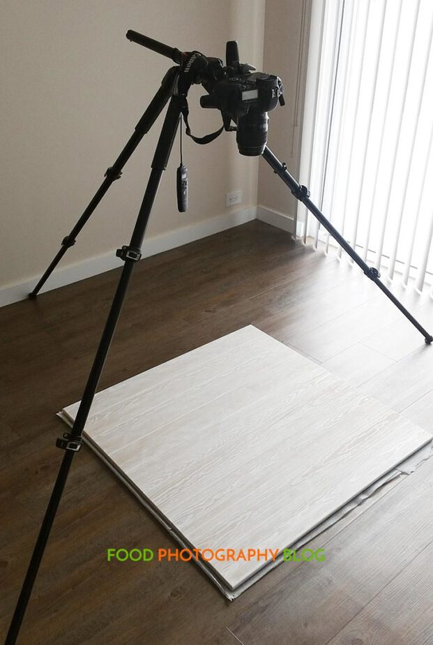 Manfrotto Tripod rigged for overhead shooting.