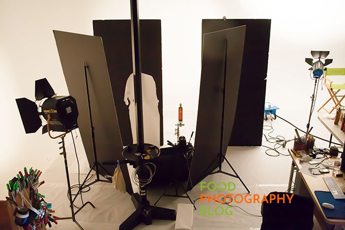 Photo of a bottle of olive in a product photography studio set up
