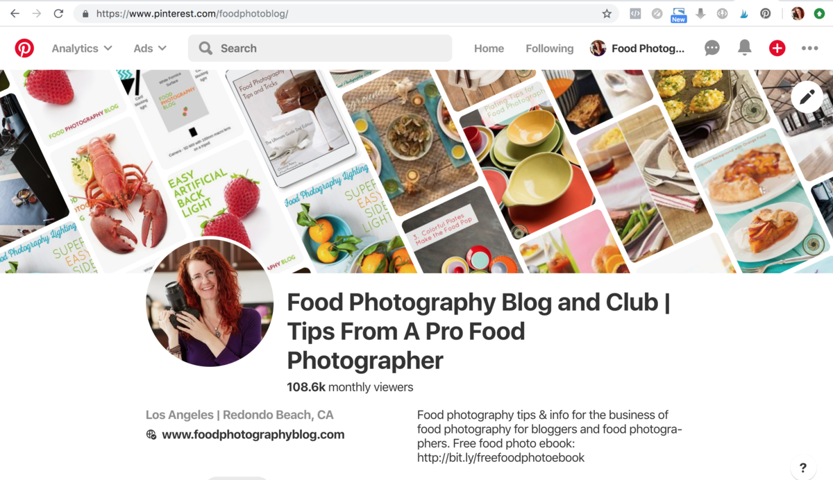 Pinterest Account Food Photography Blog