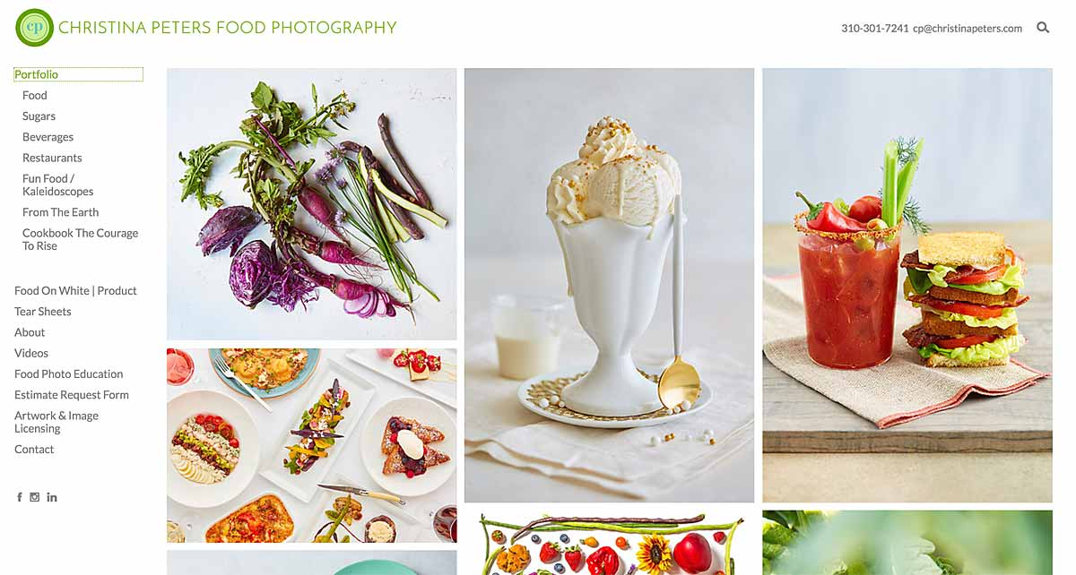 Christina Peters Food Photography Portfolio Website
