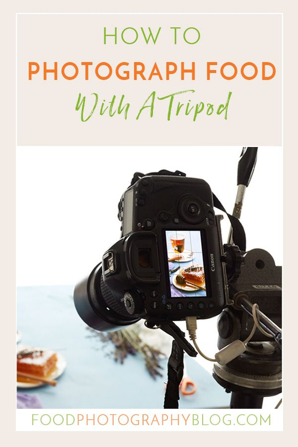 Graphic with text How To Photograph Food With A tripod and image of camera on a tripod