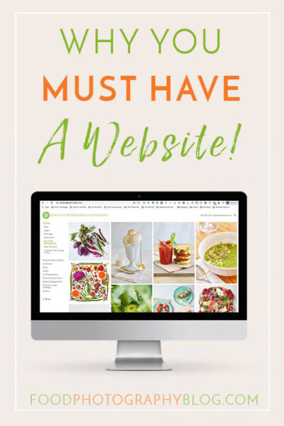 Post title image showing a computer with a photography website and text saying Why you must have a website!