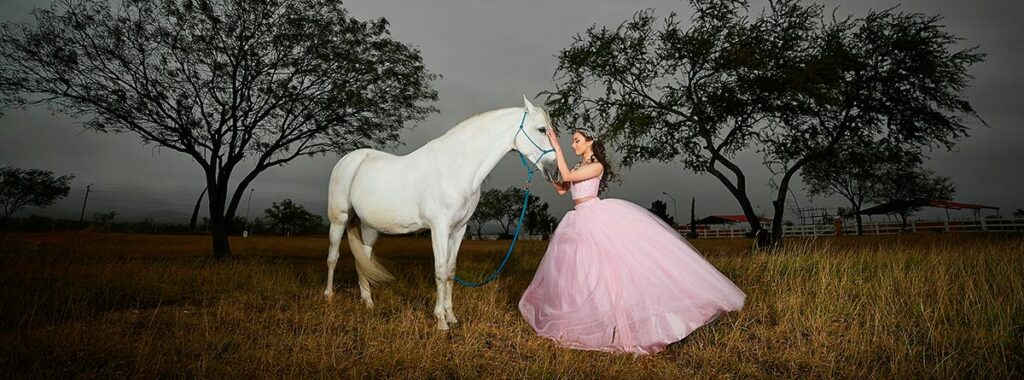 Image of woman with a pink dress next to a horse in a field