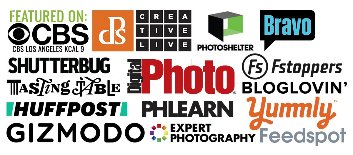 Collection of brands Christina Peters is featured in mentioning Huffington Post, Digital Photography school, Bloglovin, Bravo TV, CBS, Creativelive, Expert Photography, Fstoppers, Gizmodo, Plearn, Photoshelter, ShutterBug, Tasting Table and Yummly