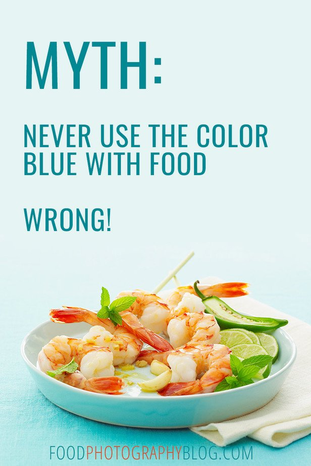 Post Title Image Shrimp on a blue background with text Myth: Never Use The Color Blue Wrong!