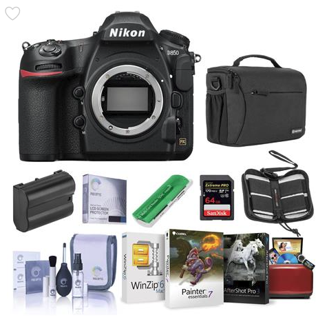 Image of Nikon D850 with accessories on white background