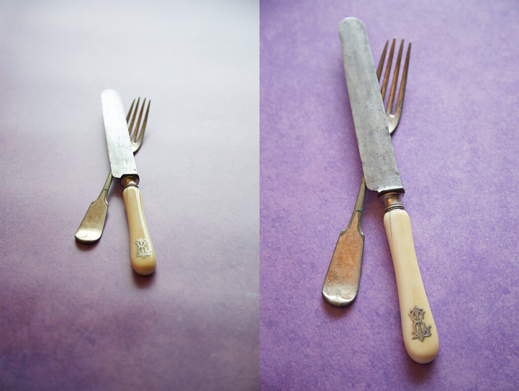Image show two photos of a knife and fork on a vinyl surface, one with glare and the other without