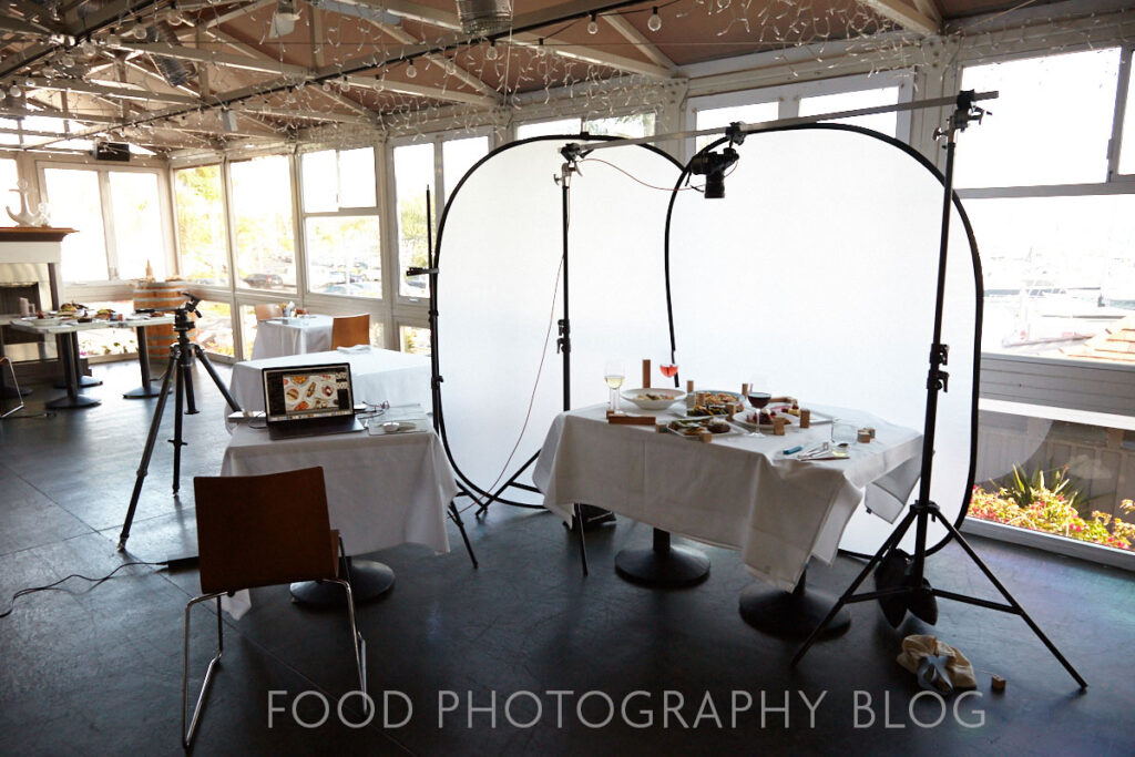 Image of an camera in an overhead rig over a table of dishes