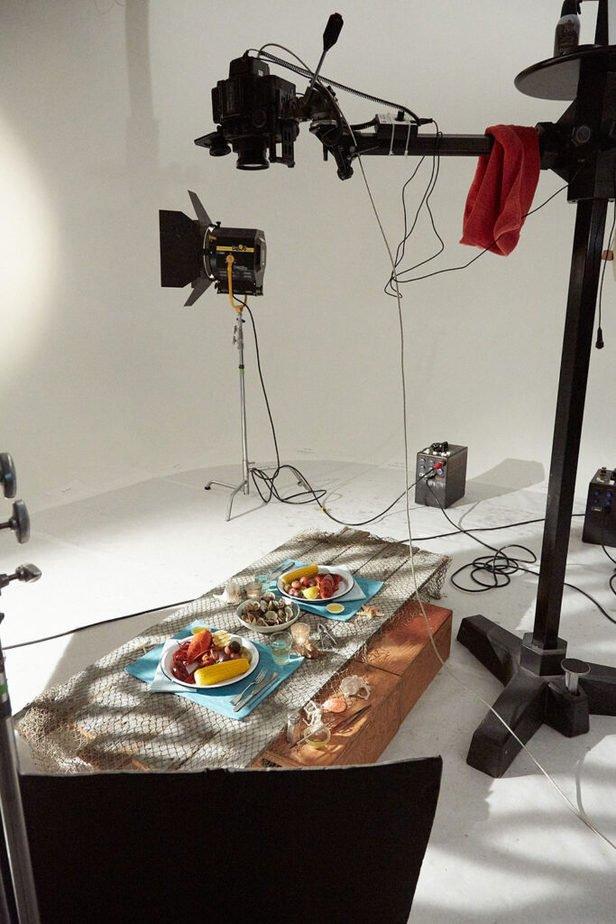 Behind the scenes showing a large Foba studio stand